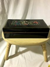 Black Wooden Box With Hand Painted Flowers And Gold Trim Vintage
