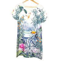 H&M Conscious Collection Shift Tunic Dress Toucan Parrot Tropical Print Size US8