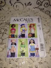 "Uncut McCall's M6451 Sewing PATTERN for 18"" American Girl Doll Clothes NEW"