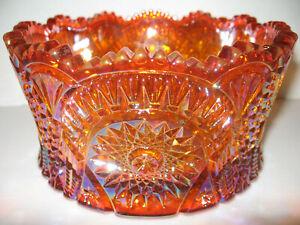 Marigold iridescent Carnival glass console candy bowl diamond pattern orange art