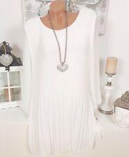 Italy Vestido Plisado Elegante Manga Larga Chifón Extra Grande Blanco 38 40 42