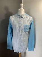 Men's Size XL Star Clippers Long Sleeve Stripe Blue White Cotton Casual Shirt