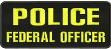 POLICE FEDERAL OFFICER 4X10 hook black background border yellow letter