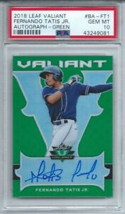 2018 Leaf Valiant Fernando Tatis Jr. RC, GREEN AUTO #11/#99 Psa 10 Gem,  POP 4
