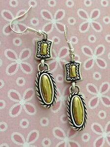 Brighton Rectangle Ovals Authentic Gold & Silver Earrings Dangle *Retired*