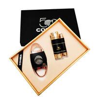 COHIBA 50th Anniversary Metal Torch Jet Flame Butane Gas Cigar Lighter + Cutter