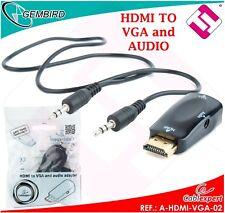 ADATTATORE A-HDMI-VGA-02 HDMI 19 SPINOTTI MASCHIO VGA DB15 VESA CONVERTITORE+