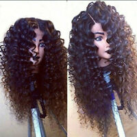 Long Black Kinky Curly Synthetic Lace Front Wigs Natural Full Hair Glueless Wig