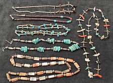 Vintage Native American Jewelry Zuni Inlay Turquoise Shell Fetish Necklace Lot