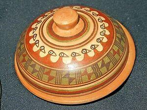 TERRACOTTA  Trinket Box Lidded Dish Signed Raqui Amaru Cusco Peru Pottery