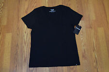 NWT Womens Hurley Short Sleeve Black Solid Perfect V-Neck Shirt Size L Large