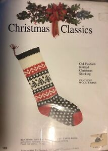 """Vintage Accessories Limited 25"""" Christmas Tree Knitted Stocking Kit Started"""