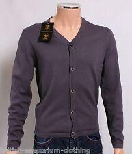 BNWT Holland Esquire DK Grey COTTON & SILK V Neck Cardigan Jumper Sweater SMALL