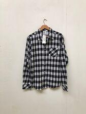 Adidas Neo Para Hombre Camisa a Cuadros LS-Medio-Negro/Blanco-Nuevo