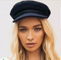 NWOT Free People Brixton Alexa Lieutenant Navy Blue Wool Fiddler Cap Hat Size XS