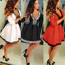 AU Sexy Womens Deep V Neck 3/4 Sleeve Evening Party Cocktail Lace Flared Dress