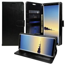 For Samsung Galaxy Note 8 Leather Flip Luxury Wallet Case CoverStand Strap BLACK