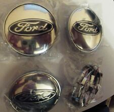 FORD CHROME ALLOY WHEELS CENTER CAPS SET (4) Face 68 MM CLIP 62 MM