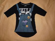 T-shirt noir Pretty impression bretelles burgers Fifty-2 fille 7-8 ans C&A - TBE