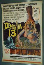 """Dementia 13 rare 40"""" x 60"""" movie poster sci-fi monsters horror Corman Coppola"""