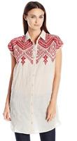 ❤️JOHNNY WAS 3J Workshop NINA Embroidered BUTTON BACK Blouse Dress S  $228