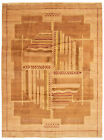 """Vintage Hand-knotted Carpet 9'1"""" x 12'2"""" Traditional Tan Wool Area Rug"""