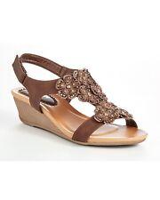 Cotton Traders Floral T-bar Wedge Sandals UK 7 EU 41 LN085 XX 09