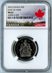 2016 CANADA NGC MS67 COAT OF ARMS 50 CENT! CANADA LANDSCAPE LABEL!