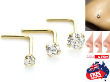 Sterling Silver Gold Plated 22g L Shape Nose Studs With Clear Prong Gem Top 1pc