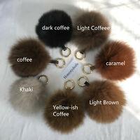"Coffee 13cm 5"" Real Fox Fur Ball Pom Pom Bag Charm Car Keychain Pendant"
