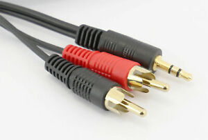 3.5mm Jack Aux to 2 x RCA Cable (Twin Phono) Audio Lead Stereo Long Gold