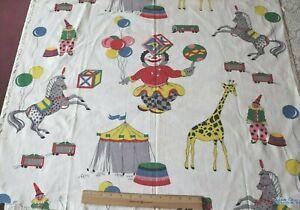 "Vintage c1940 Large Scale Children's Circus Print Cotton Fabric~L-56""X W-36"""