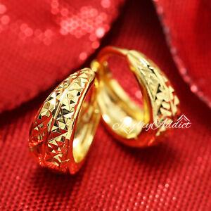 9K GOLD GF DIAMOND CUT PATTENED BASKET LADIES SMALL HOOP HUGGIE SLEEPER EARRINGS