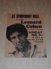 Leonard Cohen 1975 US Boston concert Handbill