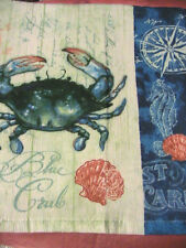 1 whole BLUE CRAB~seahorse~shell KITCHEN~BATH~SHOP~COTTAGE quality HAND TOWEL