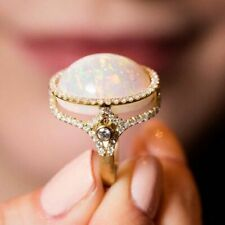Fashion 18K Gold Filled Opal Topaz Ring Women Wedding Engagement Jewelry Sz6