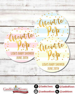 About To Pop® Round Personalized Baby Shower Sticker Labels   Pastel Color Gold