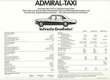 2x Opel Record Amiral Taxi Paquet D Limousine prospectus brochure Sheet a