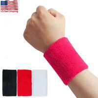 Wrist Sweat Bands Cotton Wristband Sweatband Sport Basketball Baseball Tennis US