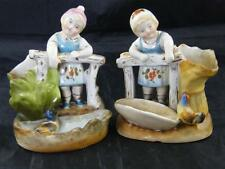 PR HAND PAINTED POTTERY BOY & GIRL MATCH STRIKERS