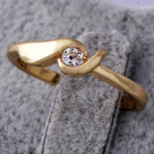 Exquisite Womens Ring Yellow Gold Plated Clear clear crystal Size 7.5