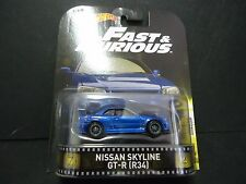 Hot Wheels Nissan Skyline R34 Blue Brian's Car Fast and Furious 1/64 DMC55-956C