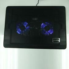 "10-17"" Laptop PC LED Light 2 Fan USB Cooing Cooler Pad Adjustable Stand Blu"