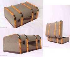 "Retro! Oldtimerkoffer Koffer Halbrund Holzleisten Koffer 2 Größen ""L"" Nice Jute"