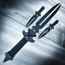 "23"" NINJA SWORD Full Tang Machete Tactical Blade Katana Throwing Knife Set NEW"