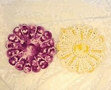 2 UNIQUE VINTAGE DOUBLE SIDED HAND CROCHETED DOILIES YELLOW/WHITE, PURPLE/ PINK