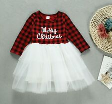 Child Gilrs Toddler Tutu Dress Christmas Tartan Check Plaid Xmas Skirt