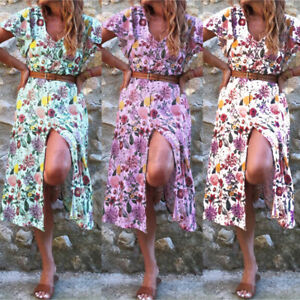 2021 ZANZEA Women Beach Holiday Short Sleeve Sundress Slit Long Maxi Dress Gown