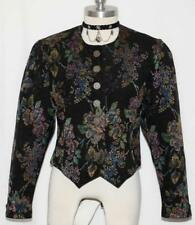BLACK ~ COTTON + VELVET TRIM German Women ELEGANT Dress Suit JACKET Coat 36 8 S