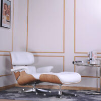 Mid-Century Eams lounge chair & ottoman genuine leather White for Living Room